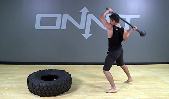 Steel Mace Staggered Stance Tire Slam