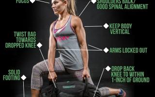 How to do the Twisting Back Lunge Sandbag Exercise.