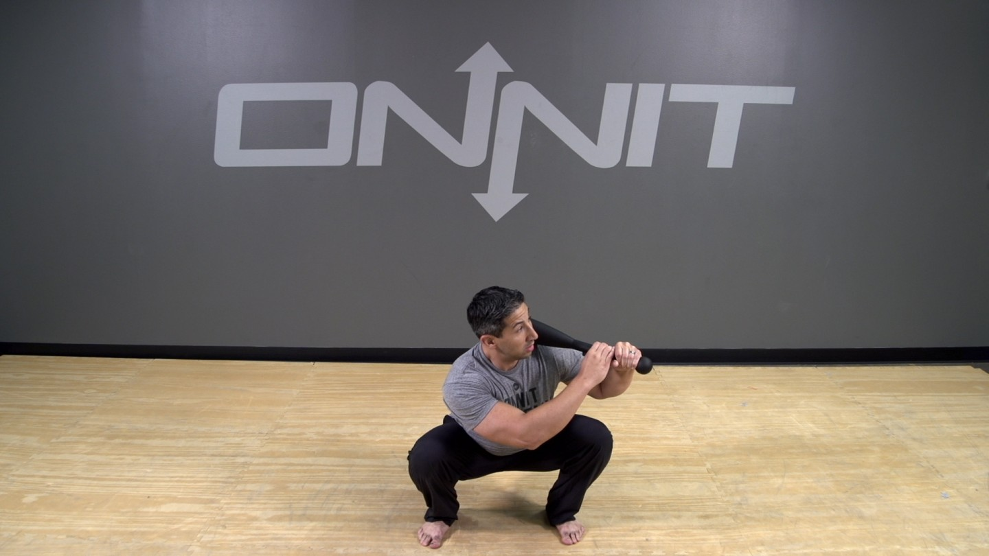 Steel Club Exercise: 2-Hand Side Shouldered Squat