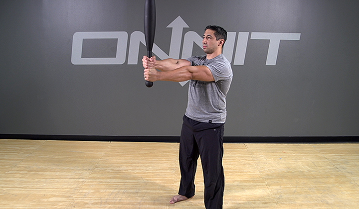 Steel Club Exercise: 2-Hand Front Press