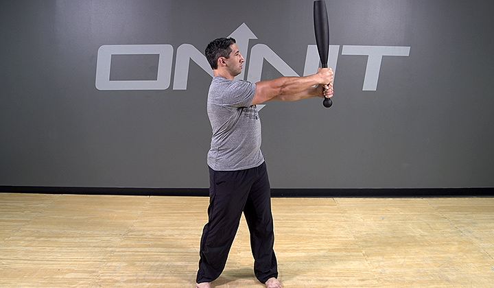 Steel Club Exercise: 2-Hand Side Press