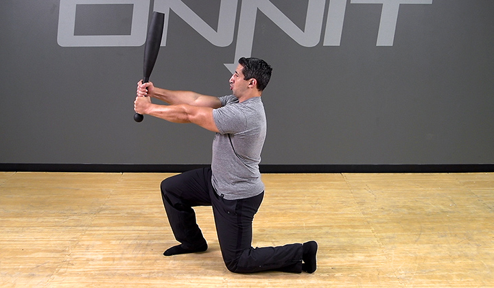 Steel Club Exercise: Alternating Flag Press Lunge