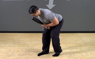 Steel Club Exercise: Staggered Front Hold Good Morning
