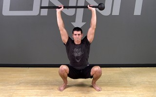 Steel Mace Exercise: Overhead Squat