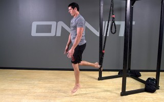 Suspension Exercise: 1-Leg Drop Step Explosive Ankle Touch
