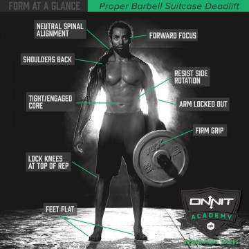How to perform the barbell suitcase deadlift.