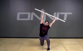 Dowel Half Kneeling Overhead Roll Bodyweight Exercise