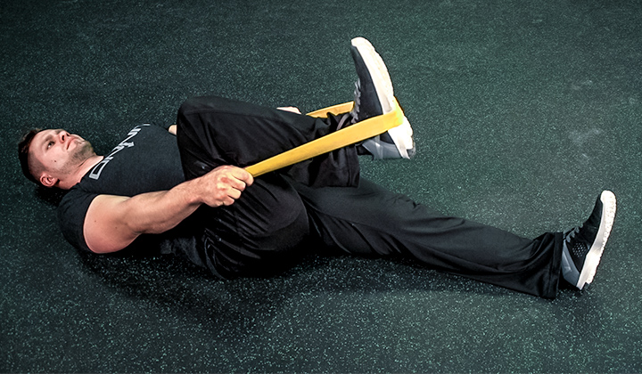 Resistance Band Exercise #4: Lying Hip Extension