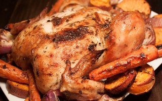 Garlic Herb Roasted Chicken with Sweet Potatoes and Red Onions Recipe
