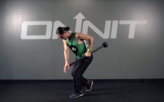 Staggered Stance Offset Side Row Steel Mace Exercise