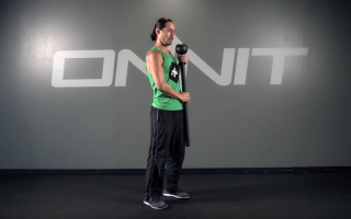 Front Press Alternating Lunge Steel Mace Exercise