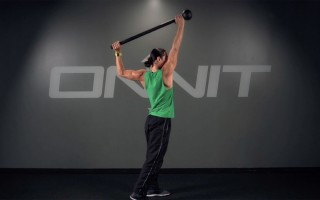 Staggered Stance Paddle Swing Steel Mace Exercise