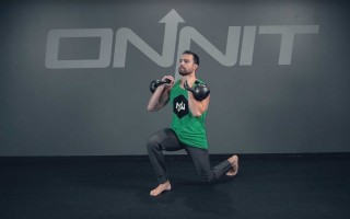 Double Racked Kettlebell Split Squat Lunge Exercise