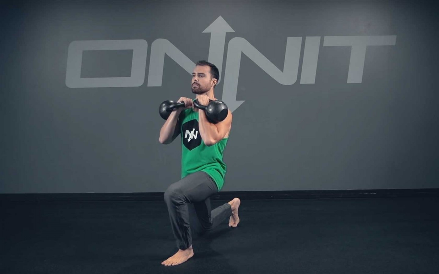 Double Kettlebell Forward Lunge Exercise