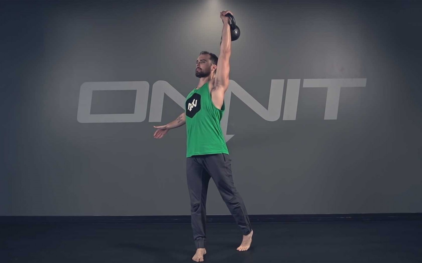 One Arm Rotational Kettlebell Press Exercise