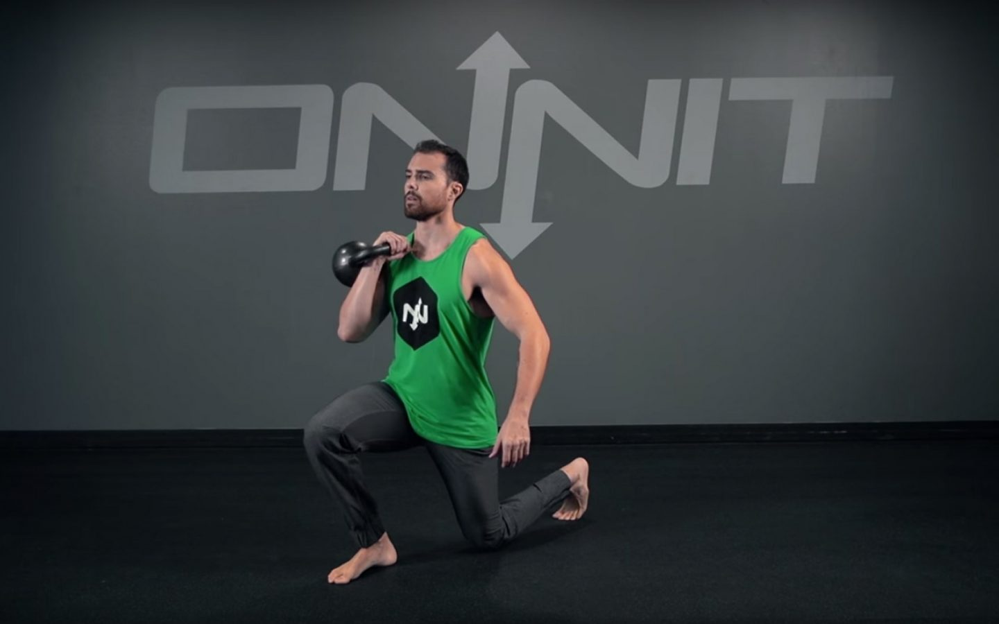 One Arm Kettlebell Forward Back Lunge Exercise