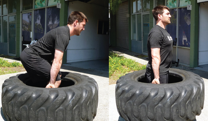 Performing a Deadlift with a Tire